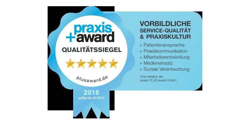 November 2018 – Wir wurden mit dem Praxis+ Award Qualitätssiegel ausgezeichnet